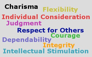 The Nine Traits of a Leader: charisma, individual consideration, intellectual stimulation, courage, dependability, flexibility, integrity, judgment, and respect for others